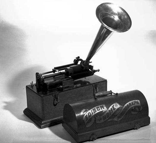 """Edison invents the cylinder """"phonograph"""" used to record and playback sound."""