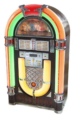 """Louis Glass invents the modern jukebox (coin-operated phonograph) and installs it at the """"Palais Royal"""" saloon in San Francisco where it is an immediate hit."""