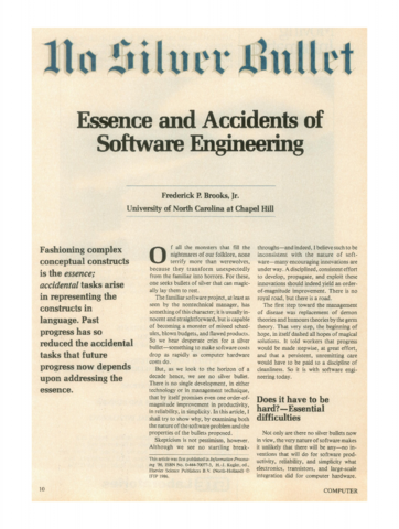"""Brooks escribe el documento """"No Silver Bullet — Essence and Accidents of Software Engineering"""""""