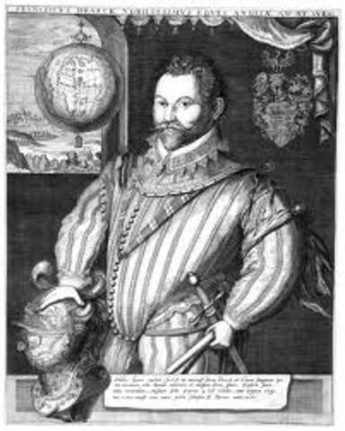 Sir Francis Drake begins his circumnavigation of the world