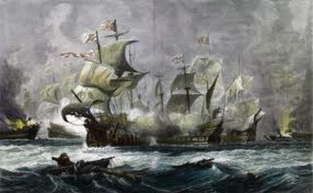 Spanish Armada is battered by the English navy before escaping around the Scottish coast