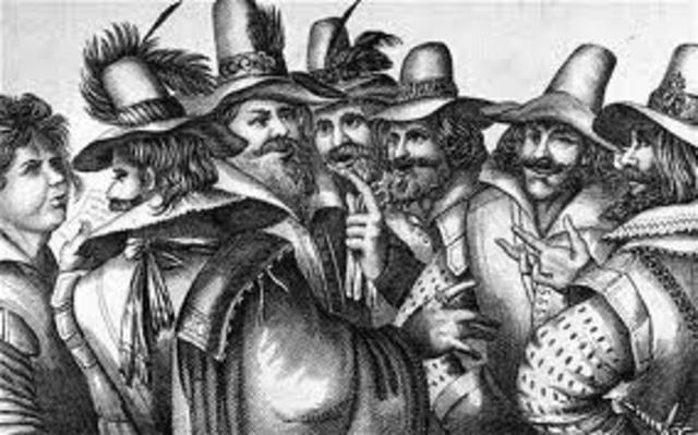 Guy Fawkes and other Roman Catholic conspirators fail in their attempt to blow up Parliament and James I (Gunpowder Plot)