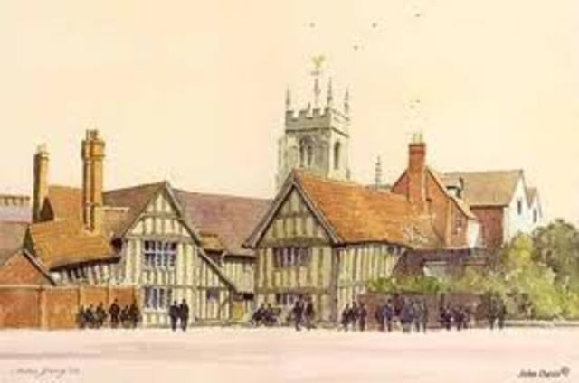 William Shakespeare returns to his birthplace, Stratford.
