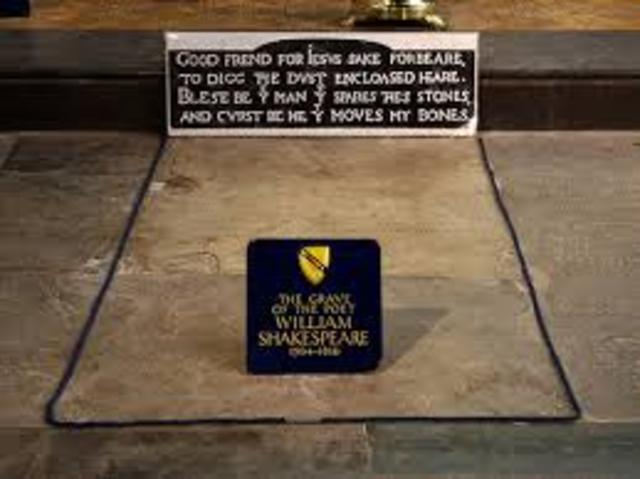 William Shakespeare is buried at Holy Trinity Church, Stratford