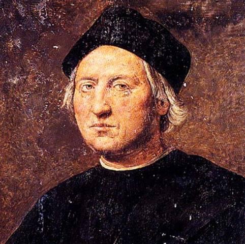 Christopher Columbus lands in Bahamas