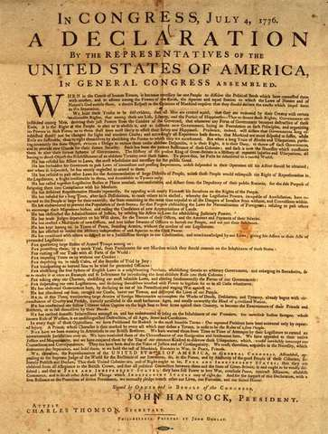 The signing of the Delaration of Independence.