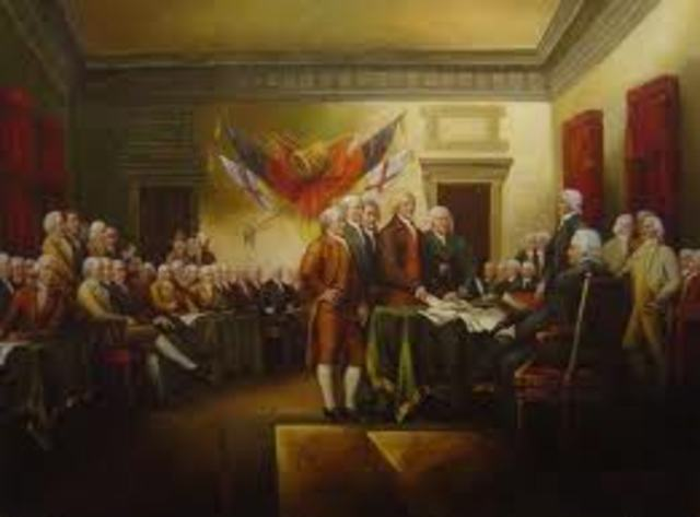The signing of the Decloration of Independence