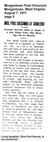 Death of mother, Sarah Harner Pool