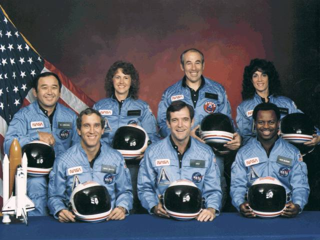 The explosion of the Challenger space shuttlre
