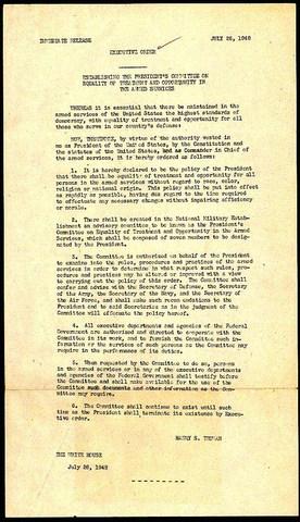 Truman signs Executive order 9981