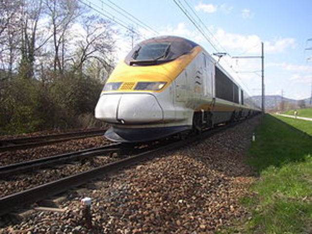 First EuroStar Train Travels the English Channel