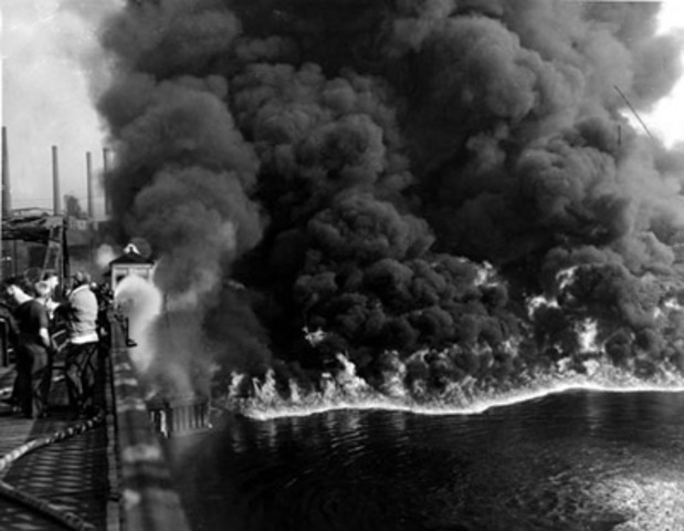 Cuyahoga River in Clevland, Ohio, caught fire