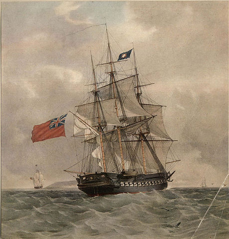 First recorded use of an aerial device from aboard a ship