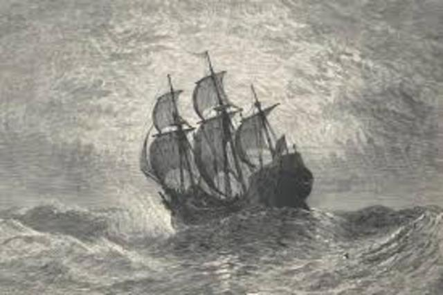Pilgrims sail on the Mayflower to Plymouth Bay