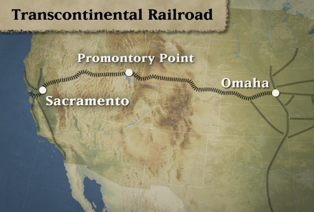 Golden Spike driven into the Transcontinental Railroad
