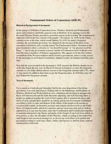 Connecticuts fundamental orders drafted