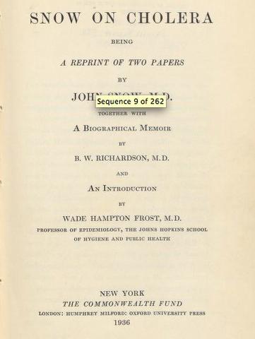 """Published  """"On the Mode of Communication of Cholera"""""""