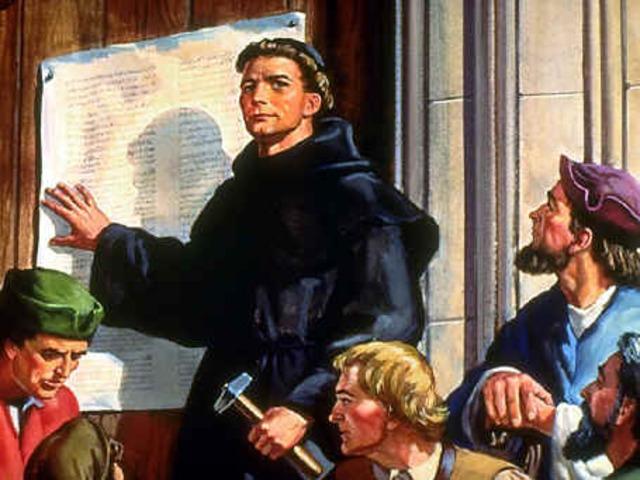Lutero expone sus 95 tesis en el Castillo de Wittemberg