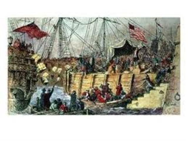 motín del té en Boston y bloqueo marítimo de la ciudad.