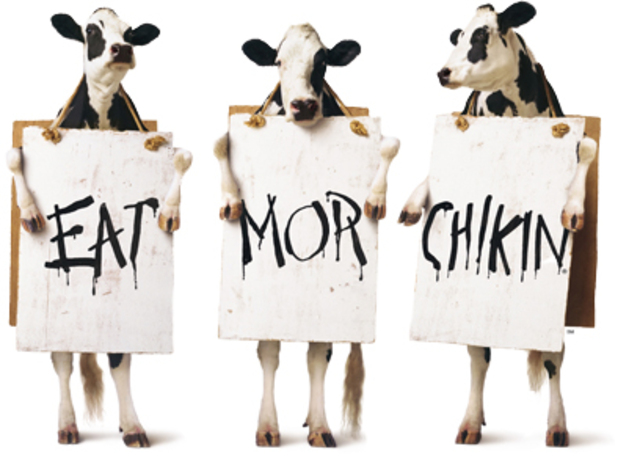 Cow campaign begins(Eat mor chikin!) Also introduces the chicken strips