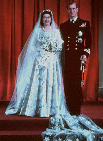 Marries Prince Philip, Duke of Edinburgh