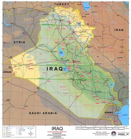 Map of Iraq (and it's surrounding countries)