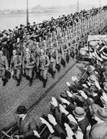 Hitler ordered German troops to march into the Rhineland