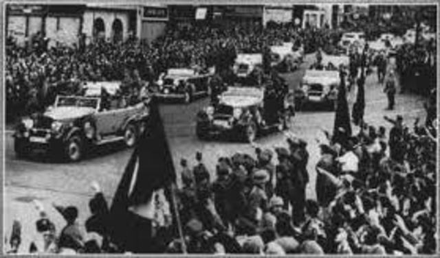 German troops march int the Sudetenland