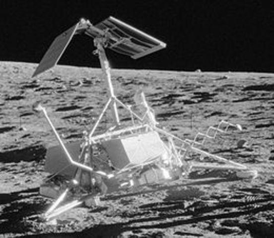 Surveyor 3 lands on the Moon