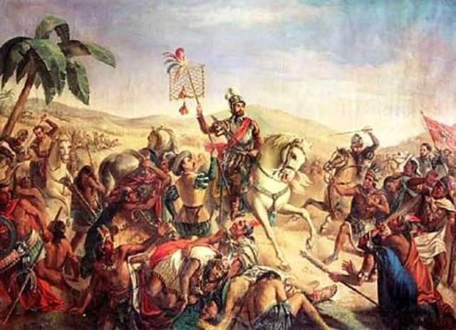 Cortes defeats the Aztecs