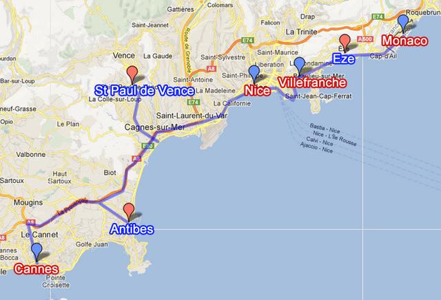 Niza, Mónaco y Cannes.