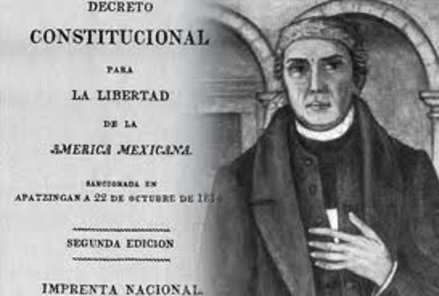 Promulgación de el Decreto Constitucional para la libertad de la América mexicana.