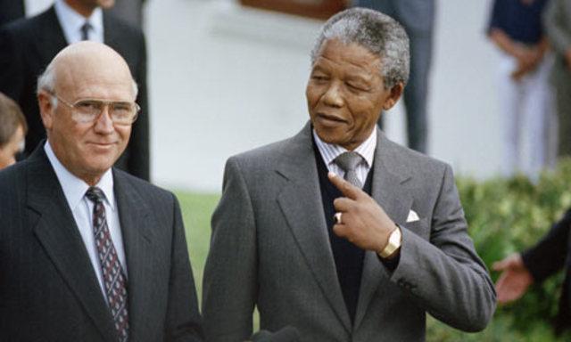 Nelson Mandeld and F.W. De Klark awarded the Nobel Peace Prize in 1993
