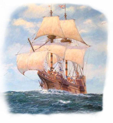 The Mayflower lands at Plymouth Rock, Massachusetts.