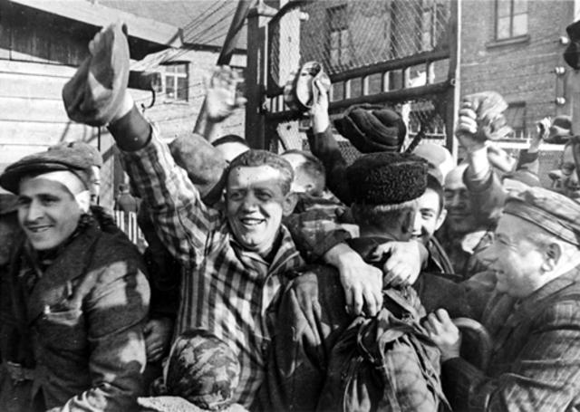Soviet troops liberate the Auschwitz camp complex