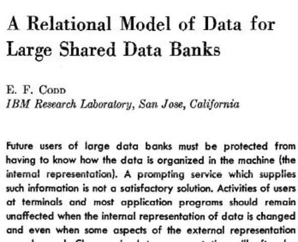 "Codd publica ""A Relational Model of Data for Large Shared Data Banks"""
