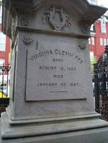 Poe's wife, Virginia dies of tuberculosis at their home in the Bronx.