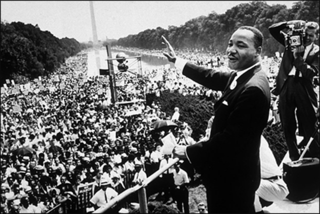 """King gives his """"I Have a Dream"""" speech."""