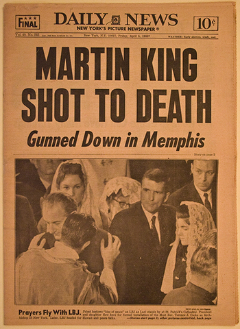 King is assassinated in Memphis.