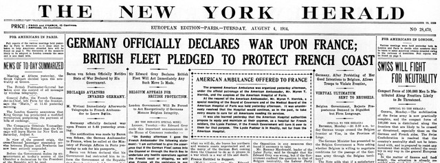 Germany and France declare war on each other