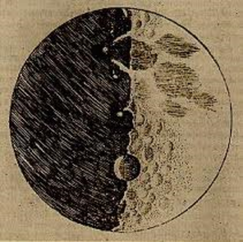 Galileo uses a telescope used to look at the moon