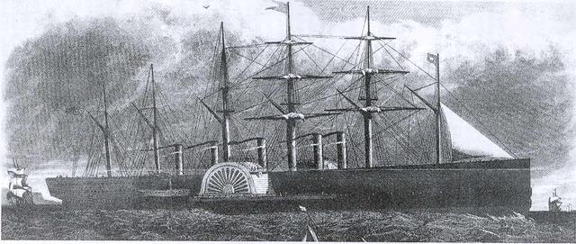Primer barco de vapor comercial.