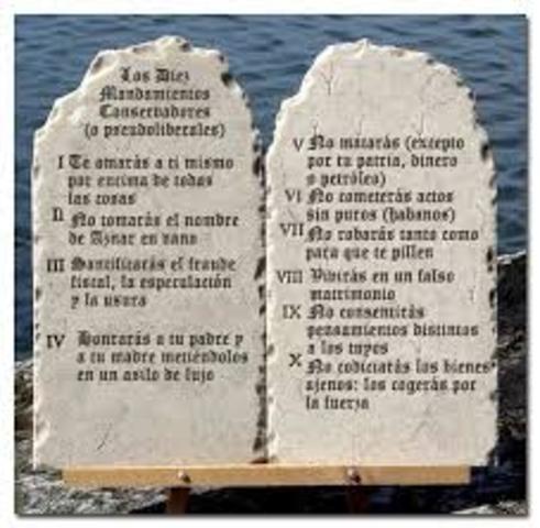 1250 aC. Los Diez Mandamientos.