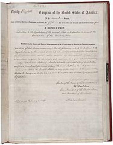 1865. Abolición de la esclavitud en los Estados Unidos (Decimotercera enmienda de la Constitución Americana).
