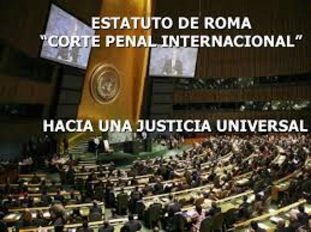 1998. Estatuto de Roma. Establecimiento de la Corte Penal Internacional  (entrada en vigor: 2002).