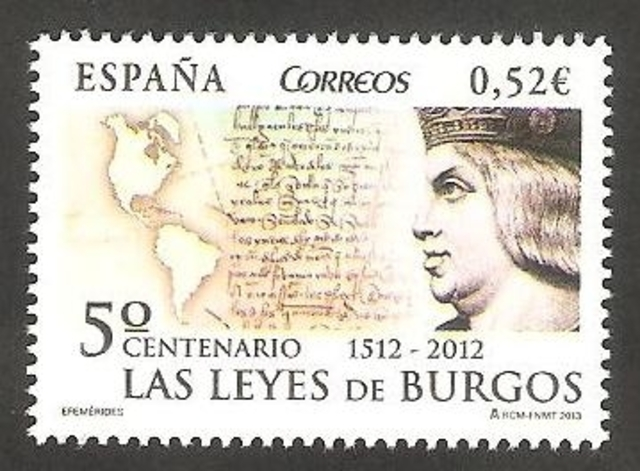 1512- leyes de burgos, junta reconoció libertad de los indios