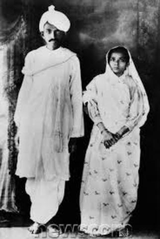 Gandhi got married.