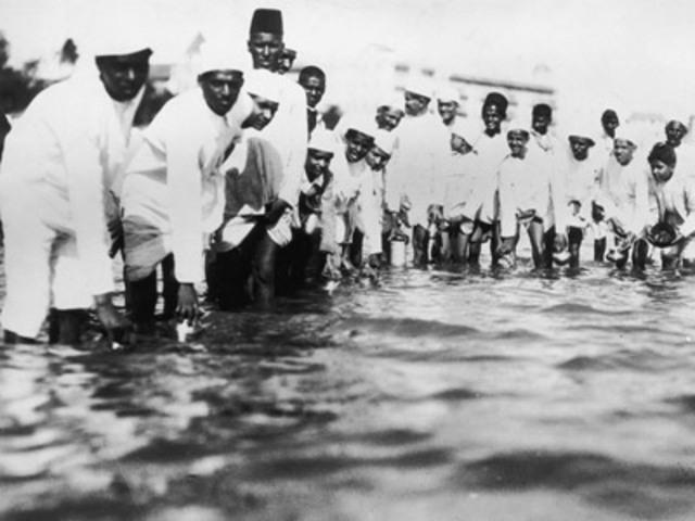 Gandhi Pick up salt which was ilegal.