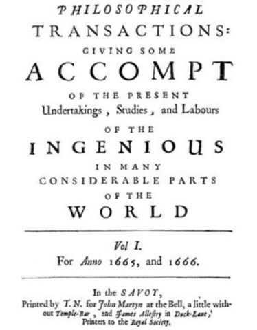 First Issue of 'Philosophical Transactions' Published