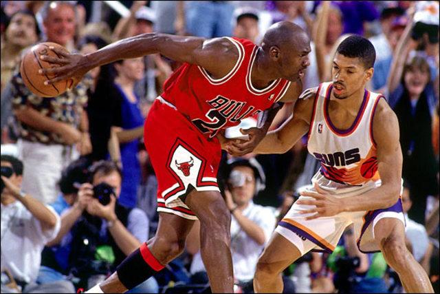 The Bulls win their third consecutive NBA title
